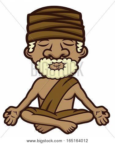 Meditating guru sitting in lotus position crossed legs and eyes closed cartoon illustration