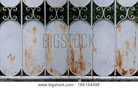 Old  Home Decay Brown Curved Steel Fence