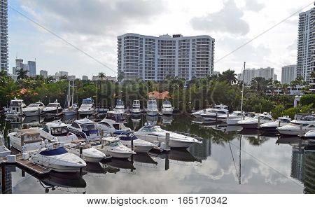 A small marina on the florida intra-coastal waterway in Aventura,Florida