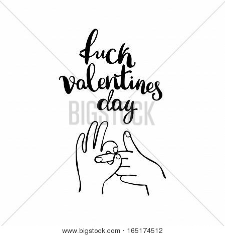 Fuck Valentine's Day. Hands - fingers. Isolated vector objects on white background.