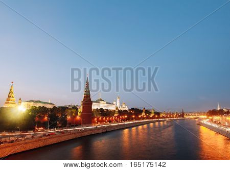 Cityscape Moscow-River and the Kremlin embankment in blue hour