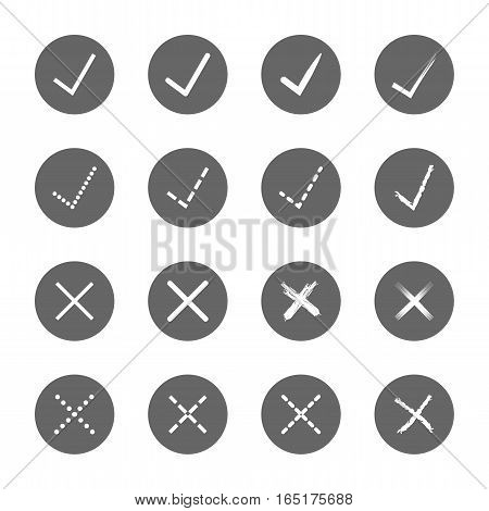 check mark right and wrong icons set,vector Illustration EPS10