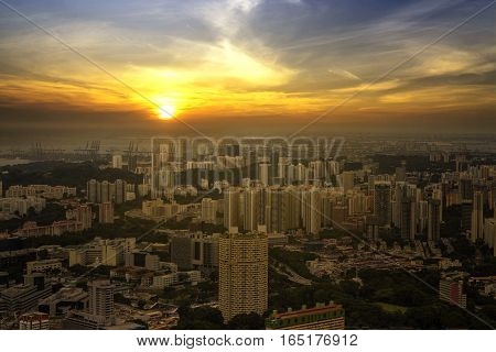 abstract scene sunset of cityscape and yellow sun and sky - can use to display or montage on product