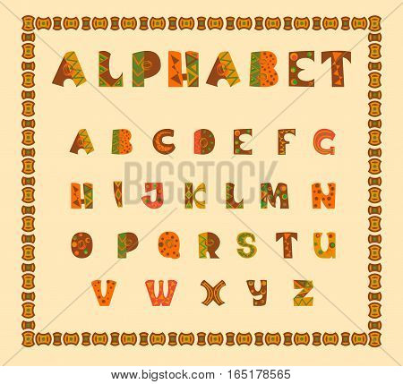 Alphabetic in ethnic african desision. Vector alphabet. eps letters. Letters of the alphabet. Illustration of african ethnic font