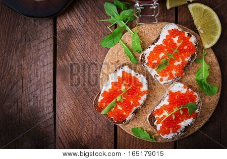 Sandwich With Red Caviar. Flat Lay. Top View
