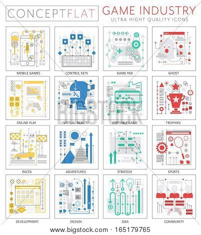 Infographics mini concept Game industry icons for web. Premium quality design web graphics icons elements. Game industry concepts