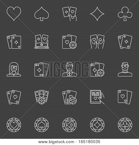 Thin line poker icons. Vector playing cards, casino chips, poker players and dealer outline symbols on dark background