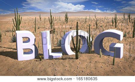 Finding a niche concept 3D illustration with the letters blog standing in the hot sand of the desert