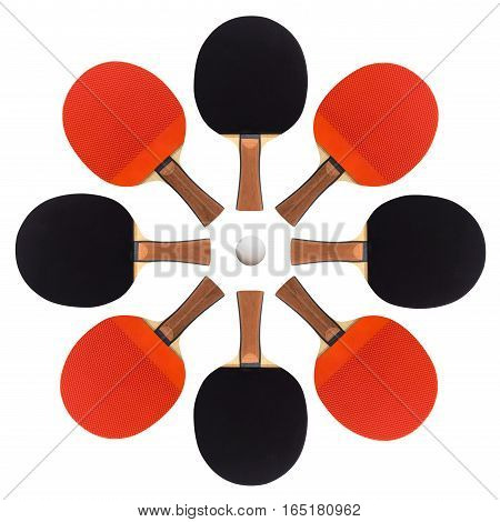 table tennis rackets laid out an asterisk isolated on white background