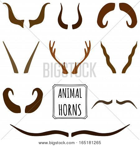 Hand drawn silhouettes collection, set of animal horns made in vector in a different shades of brown color. Deer, sheep, antelope, bullock horns