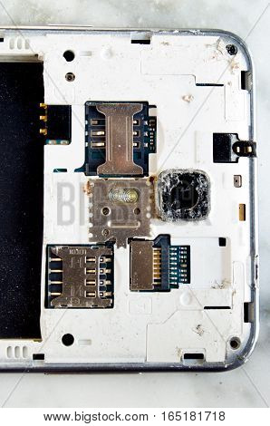Detail of the back part of a smartphone