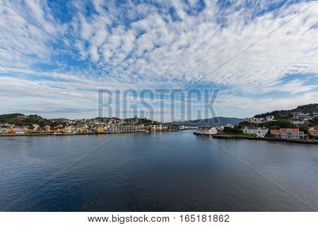 KRISTIANSUND, NORWAY - SEPTEMBER 18 2016: Houses on September 18 2016 at the port of Kristiansund Norway.