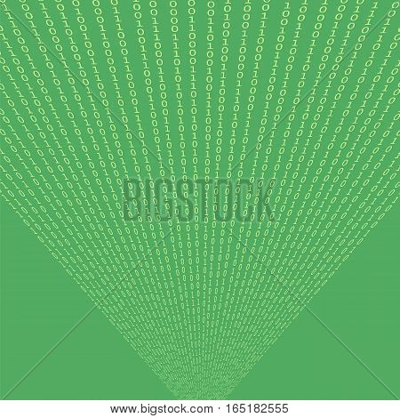 Binary Code Green Background. Concept Numbers. Algorithm Decryption and Encoding.