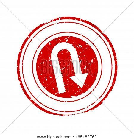 Scratched red round stamp with the bent arrow - vector