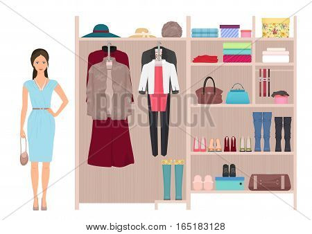 Beautiful fashion lady and women's wardrobe. Vector women's dressing room design. Clothes and shoes on hangers