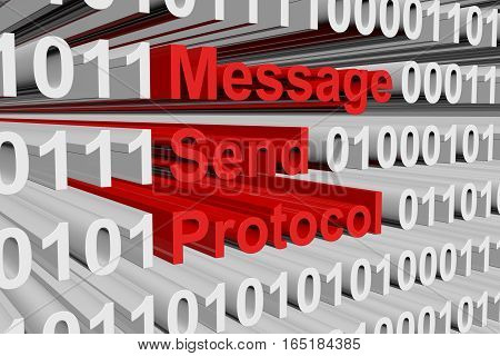 message send protocol in the form of binary code, 3D illustration