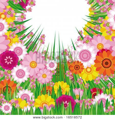 Easter Floral background. Vector.