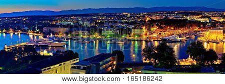 Zadar Harbor Bay Night Panorama