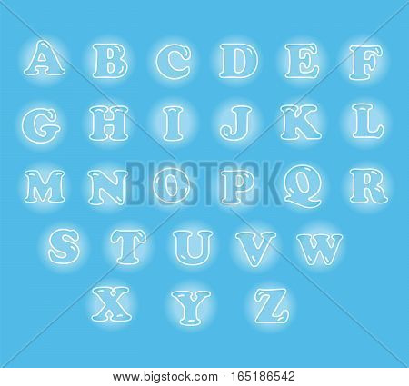 cute English alphabet vector illustration set showing in glowing bubble on light blue background