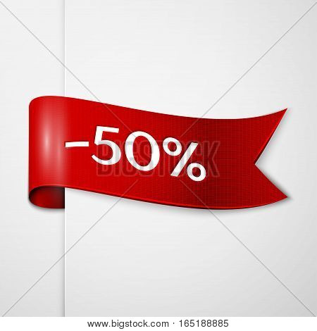 Red ribbon with inscription 50 percent discounts on grey background. Vector illustration.
