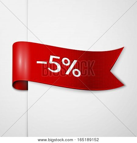 Red ribbon with inscription 5 percent discounts on grey background. Vector illustration.