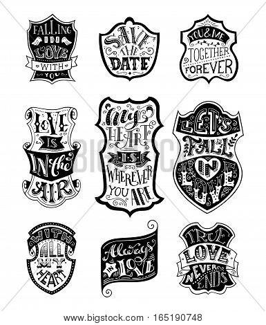Vector Set Of Handwritten Love Lettering In Badges.