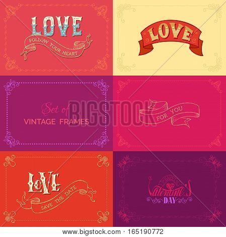 Vector Set Of Vintage Frames On Coloured Backgrounds.