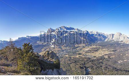 Panoramic view of Dolomites mountains around Cortina d Ampezzo Italy