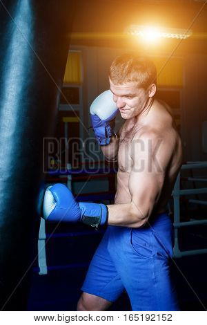 Handsome Man In Blue Boxing Gloves Training On A Punching Bag In The Gym. Male Boxer Doing Workout.