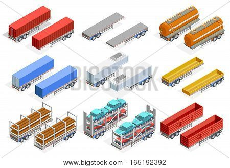 Trailers isometric set of different construction for transportation various kinds of cargo isolated vector illustration
