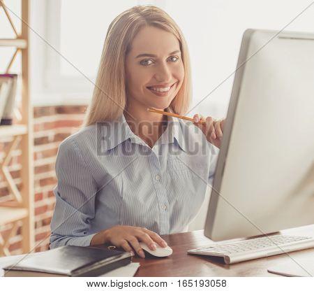 Beautiful Businesswoman Working