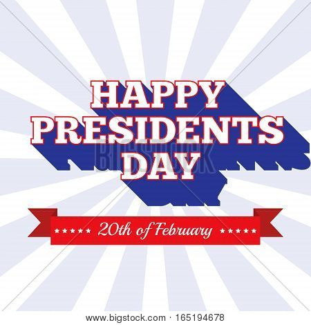 Presidents Day background. USA patriotic template with text ribbon stripes and stars for posters decoration in colors of american flag. Colorful vector illustration for National celebrations