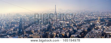 Panoramic view of Paris with the Eiffel Tower at daylight