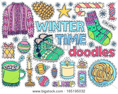 Winter Time Doodles Set Home Close Food Holiday Colorful 1