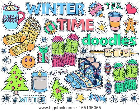 Winter Time Doodles Set Home Close Food Holiday Colorful 2