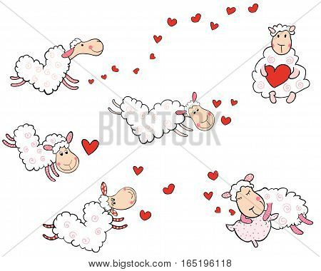 Vector set of cute flying sheep in the shape of hearts for Valentine's day designs baby showers and greeting cards