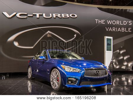 DETROIT MI/USA - JANUARY 10 2017: A 2017 Infiniti Q50 car at the North American International Auto Show (NAIAS).
