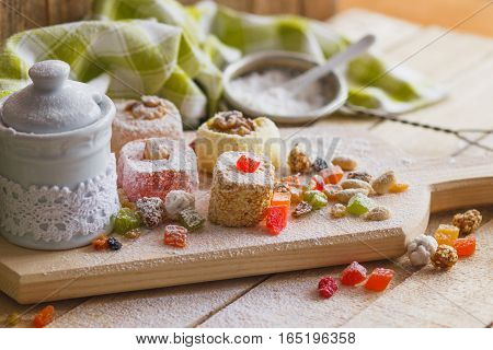 Rahat Lokum With Candied Peels, Nuts And Sugar Powder