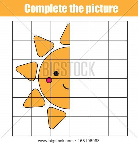 Copy by grid. Complete the picture children educational game, coloring page. Kids activity sheet with cute sun character. Printable drawing worksheet