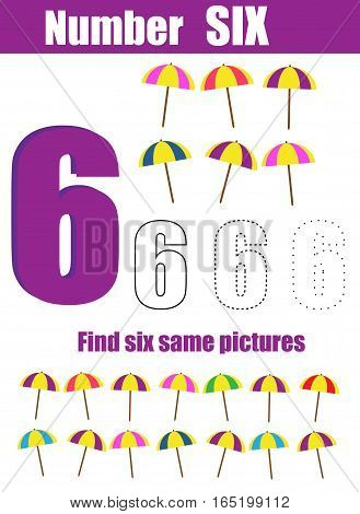 Handwriting practice. Learning mathematics and numbers. Number six. Educational children game, printable worksheet for kids