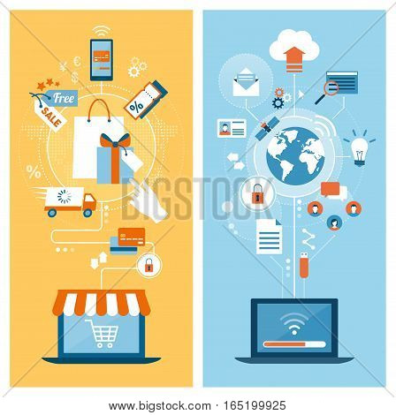 E-shopping communication networks and internet concepts connecting on laptops