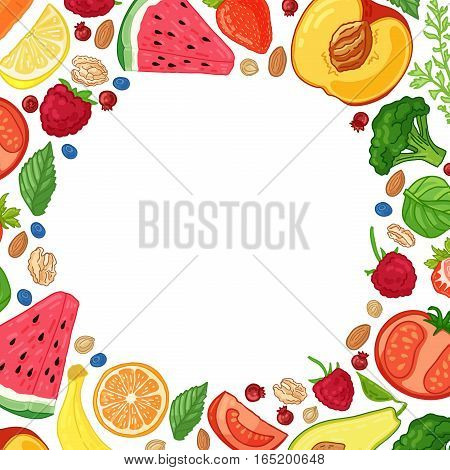 Template design booklet with the decor of the fruit. Circle pattern of natural foods, fruits, vegetables and berries. Frame with decor vegetarian food for poster, banner. Vector