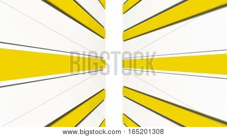 Futuristic yellow and white architecture background. Abstract architectural building of the future. 3D rendering.