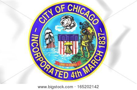 Seal of Chicago USA. 3D Illustration. Close Up.