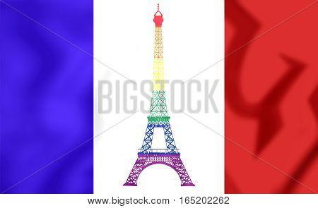 France Gay Flag. 3D Illustration. Close Up.