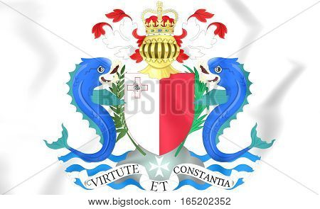 Governor-general Of Malta Coat Of Arms. 3D Illustration.