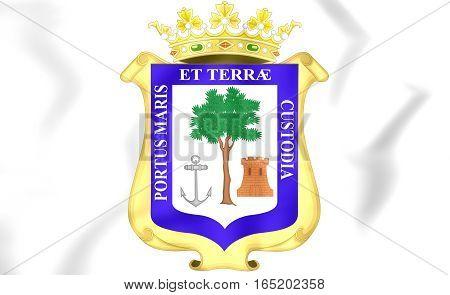 Huelva City Coat Of Arms, Spain. 3D Illustration.