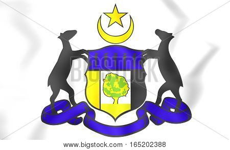 Malacca Coat Of Arms, Malaysia. 3D Illustration.