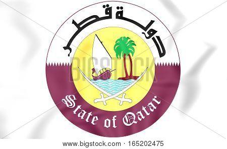 Qatar coat of arms. 3D Illustration. Close Up.