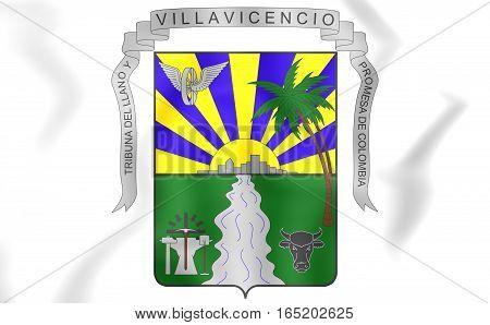 Villavicencio Coat Of Arms, Colombia. 3D Illustration.